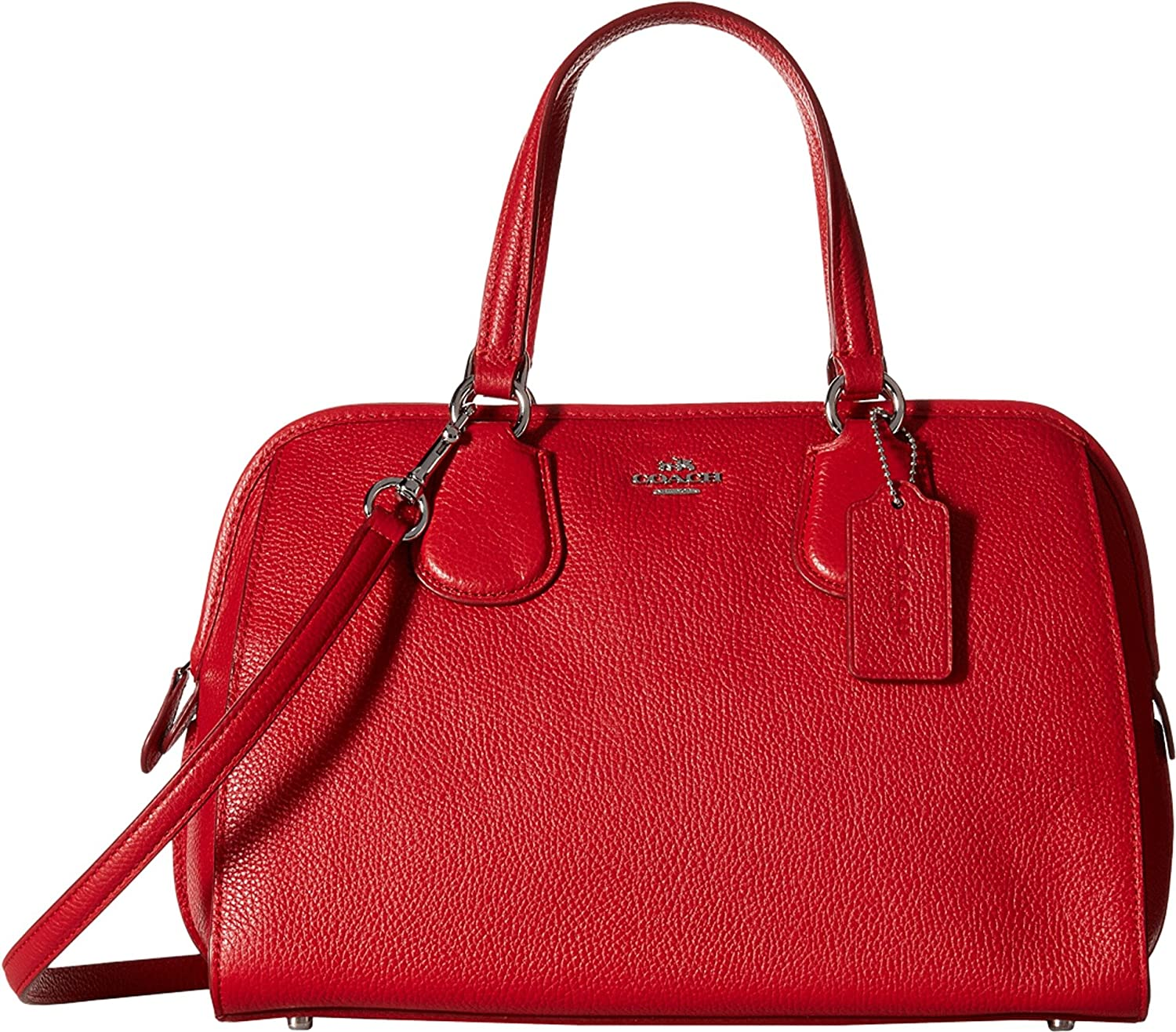 COACH Women's Pebbled Nolita Satchel SV/True Red Satchel