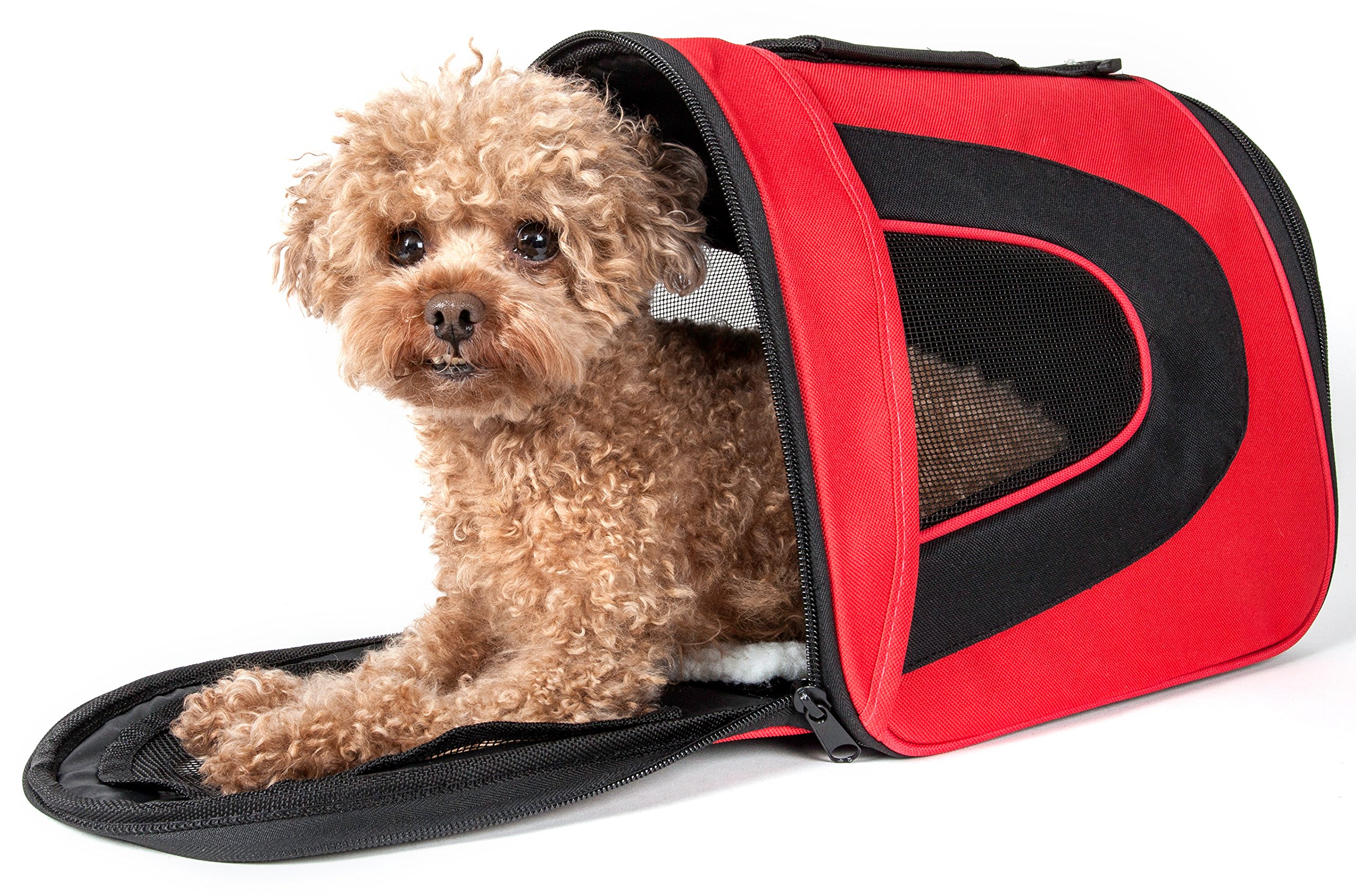 PET LIFE Airline Approved Collapsible Zippered Folding Sporty Mesh Travel Fashion Pet Dog Carrier Crate, Large, Red & Black