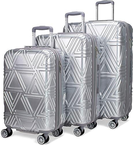 Badgley Mischka Contour 3 Piece Expandable Hardside Spinner Luggage Set Silver