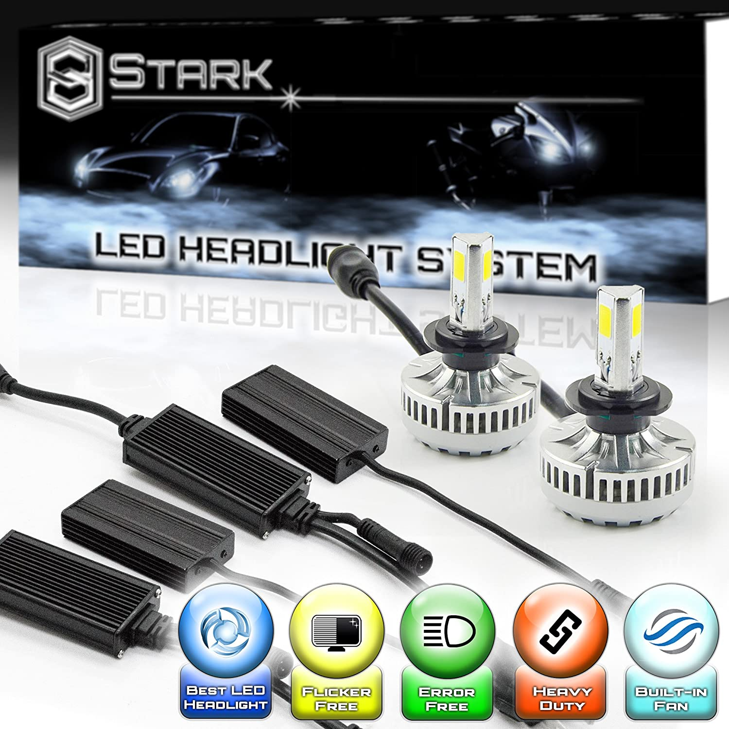 Stark 90W 9000LM LED Headlight Conversion Kit - Cool White 6000K 6K - Low Beam / High Beam / Fog Light Bulbs - H7 UNV inc