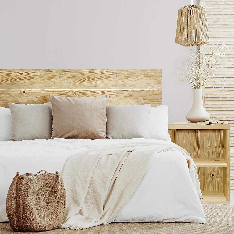 Tête de Lit pour Chambre à Coucher, Lattes Horizontales, Bois de Pin Naturel Olive