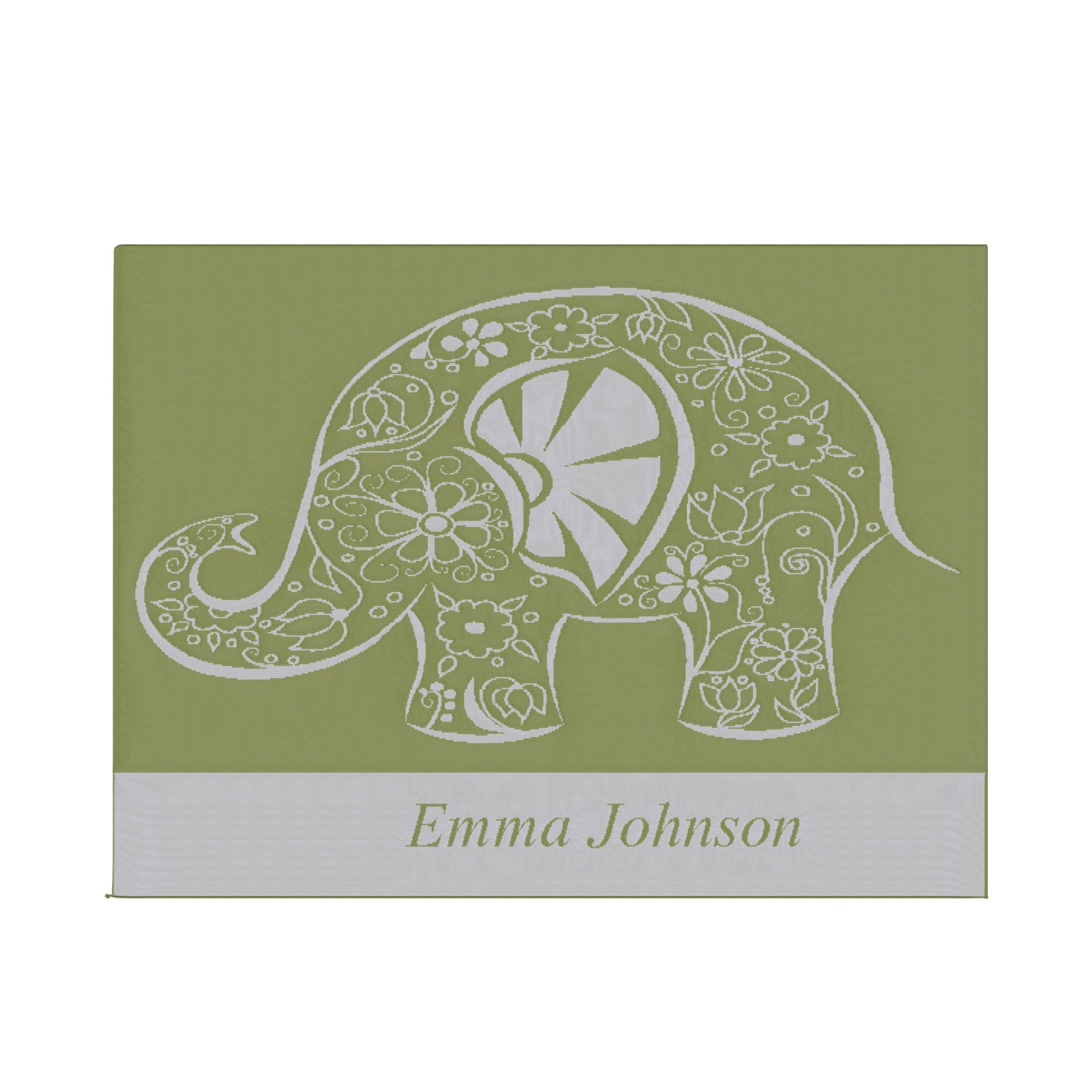 Emji Luxury Knit Baby Blanket with Fancy Elephant, Customized Name Stroller Blanket, 100% Cashwool Merino Wool, Fern Green and White, Made in USA