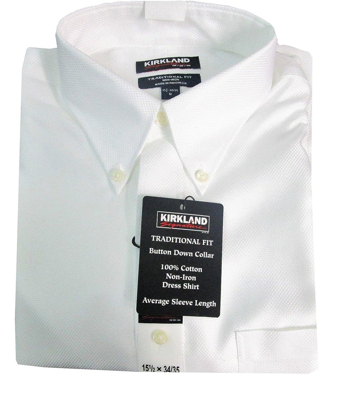 blanc Texture 43 cm cou 32 33 hommeches Kirkland Signature Chemise pour Homme 100% Coton sans Repassage