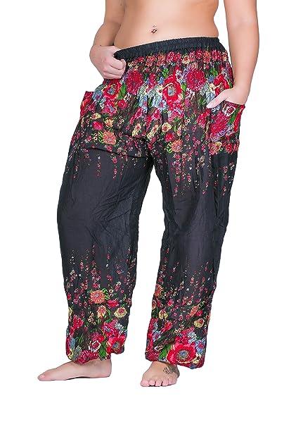 sunseta Hippie-Hose Damen Flower Haremshose Sommerhose Goa-Hose Aladin-Hose  Pumphose Pluderhose 59616a78ff