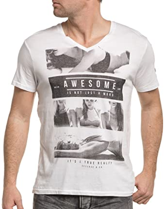 V et Vêtements Tee Deeluxe imprimé 74 col Blanc Shirt 0HqHZwxX8