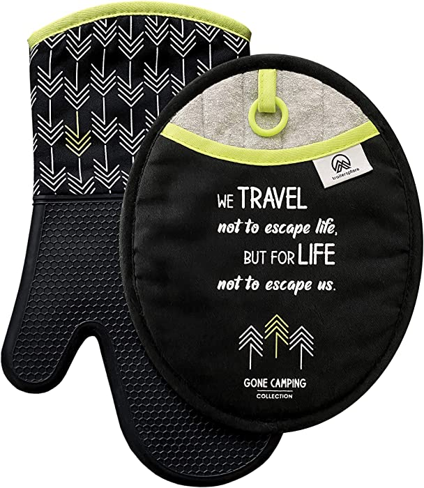 Trailersphere Silicone Oven Mitt and Pot Holder Set, Gone Camping Collection, Non-Slip Grip, Heat Resistant with Hanging Loops, Perfect for RV Kitchens and Camping, Modern and Inspirational Design