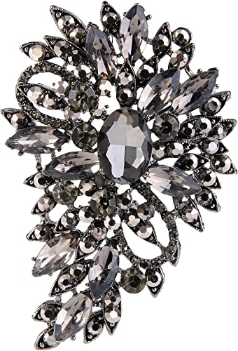 EVER FAITH Damen Marquise /Österreichische Kristall Hochzeit Blume Blatt Bouquet Brosche