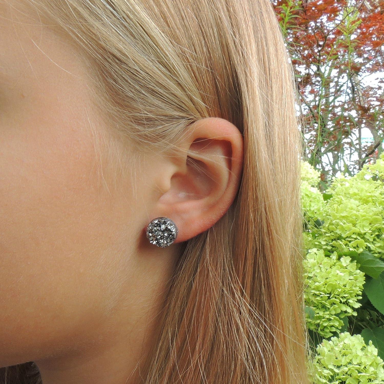 12mm Faux Druzy Earrings on Plastic Posts, Gunmetal Grey