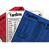 Yardzee Score Card 3 PACK Bright Colors ( 1 Red, 1 White, 1 Blue). Laminated with rules on back Use over and over again with any dry erase marker. Keeps score for up to 6 players or 6 teams.