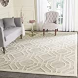 Safavieh Cambridge Collection CAM726G Handmade Moroccan Geometric Light Grey and Ivory Premium Wool Area Rug (8' x 10')