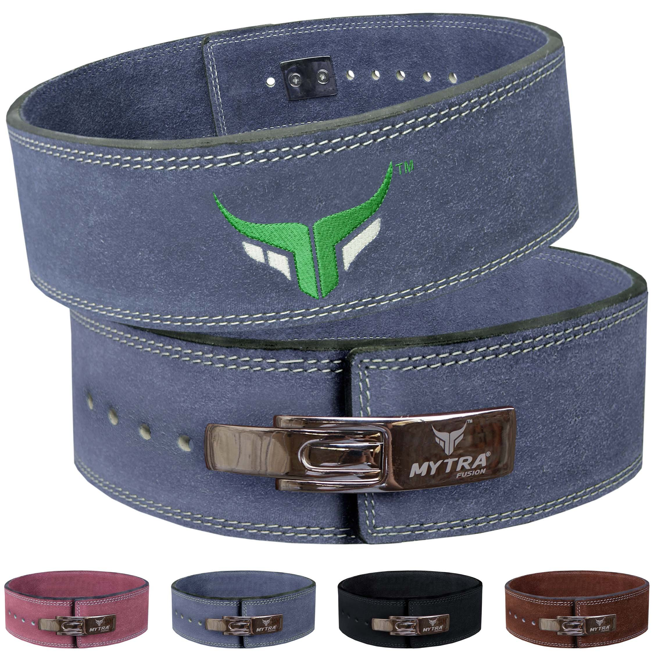Mytra Fusion Leather Weight Lifting Power Lifting Back Support Belt Weight Lifting Belt Men Weight Lifting Belt Women Weightlifting Belt (Small, Grey)