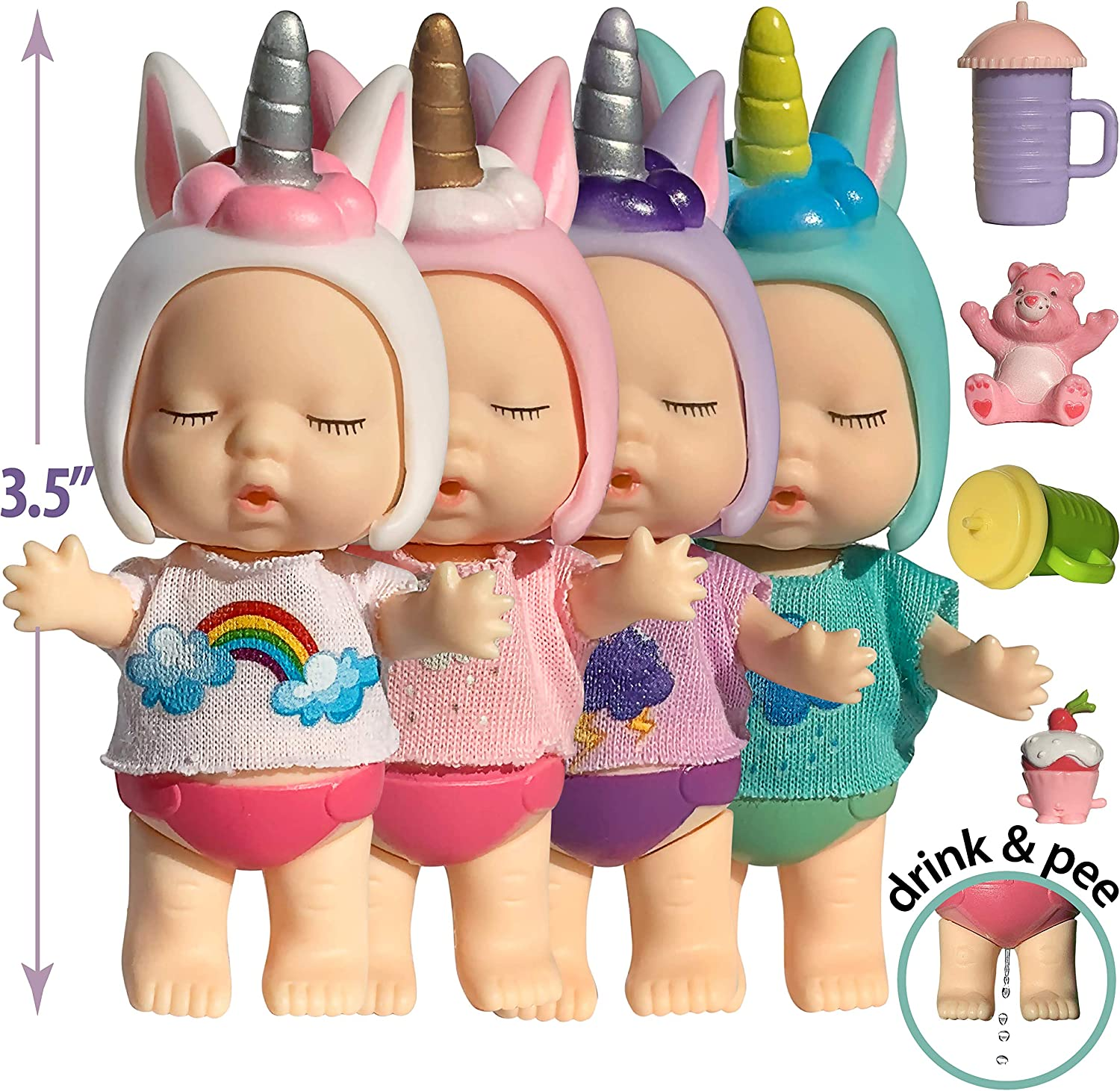 Unicorn Mini Baby Dollhouse Dolls for 3 4 5 6 Year Old Girls 3 Inch Small Baby Doll Set w Accessories - Tiny Figure Unicorn Gifts for Girls Unicorn Doll Toys - Drink n Wet Mini Babies Unicorn Figurine