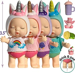 Unicorn Mini Baby Dollhouse Dolls for 3 4 5 6 Year Old Girls 3 Inch Small Baby Doll Set w Accessories - Tiny Figure Unicorn Gifts for Girls Unicorn Doll Toys - Drink n Wet Mini Babies Unicorn Figurine