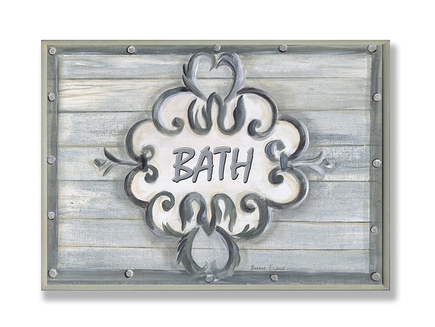 The Stupell Home Decor Collection Bath Grey Bead Board with Scroll Plaque Bathroom Wall Plaque