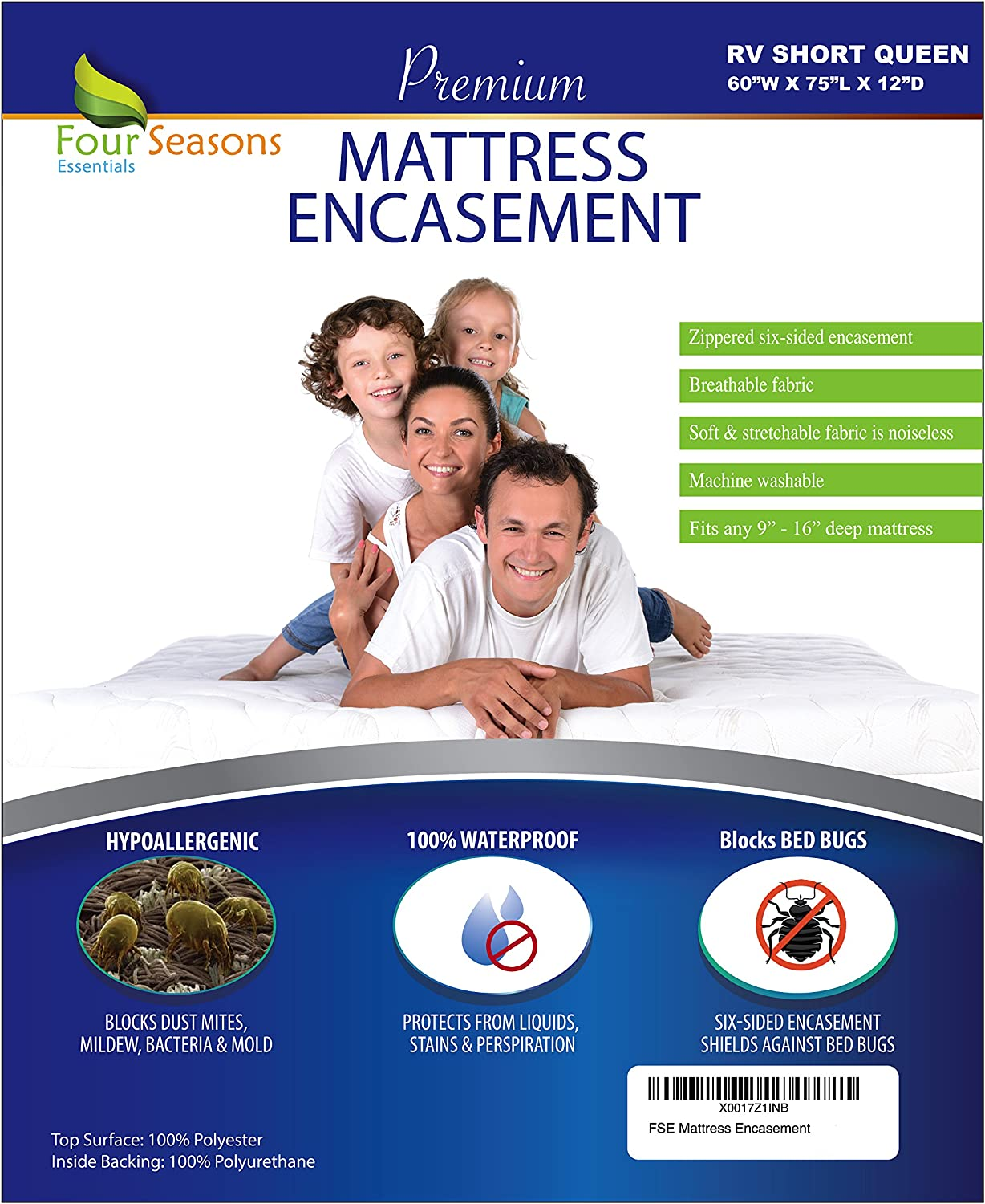 """RV Short Queen Mattress Protector (60"""" Wx75 L) Bedbug Waterproof Zippered Encasement Hypoallergenic Premium Quality Cover Protects Against Dust Mites Allergens"""