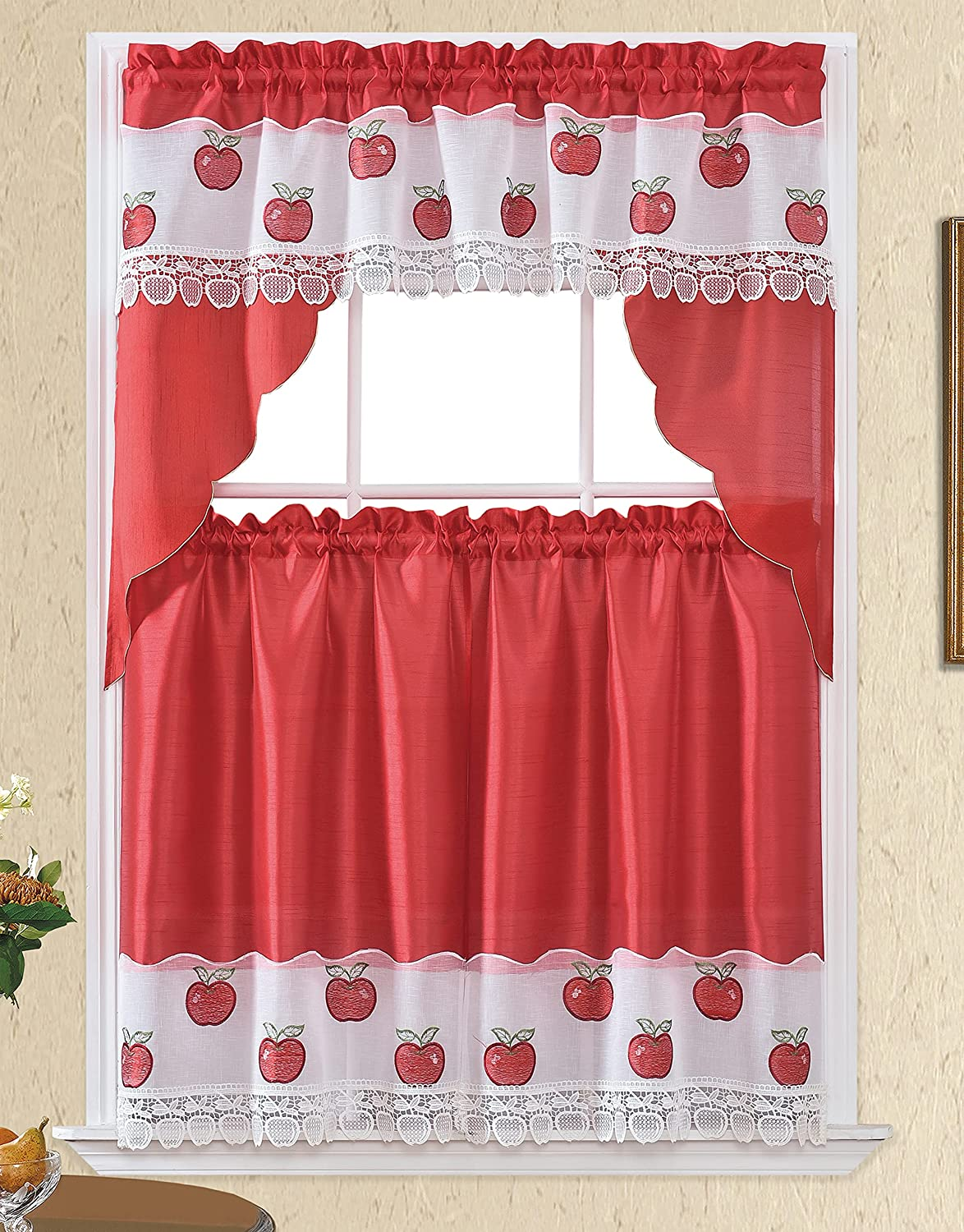 3pc Rod Pocket Embroidered Kitchen Curtains and Valances Set Swag Curtains & Tier Set 36 Inch Length Red Apple