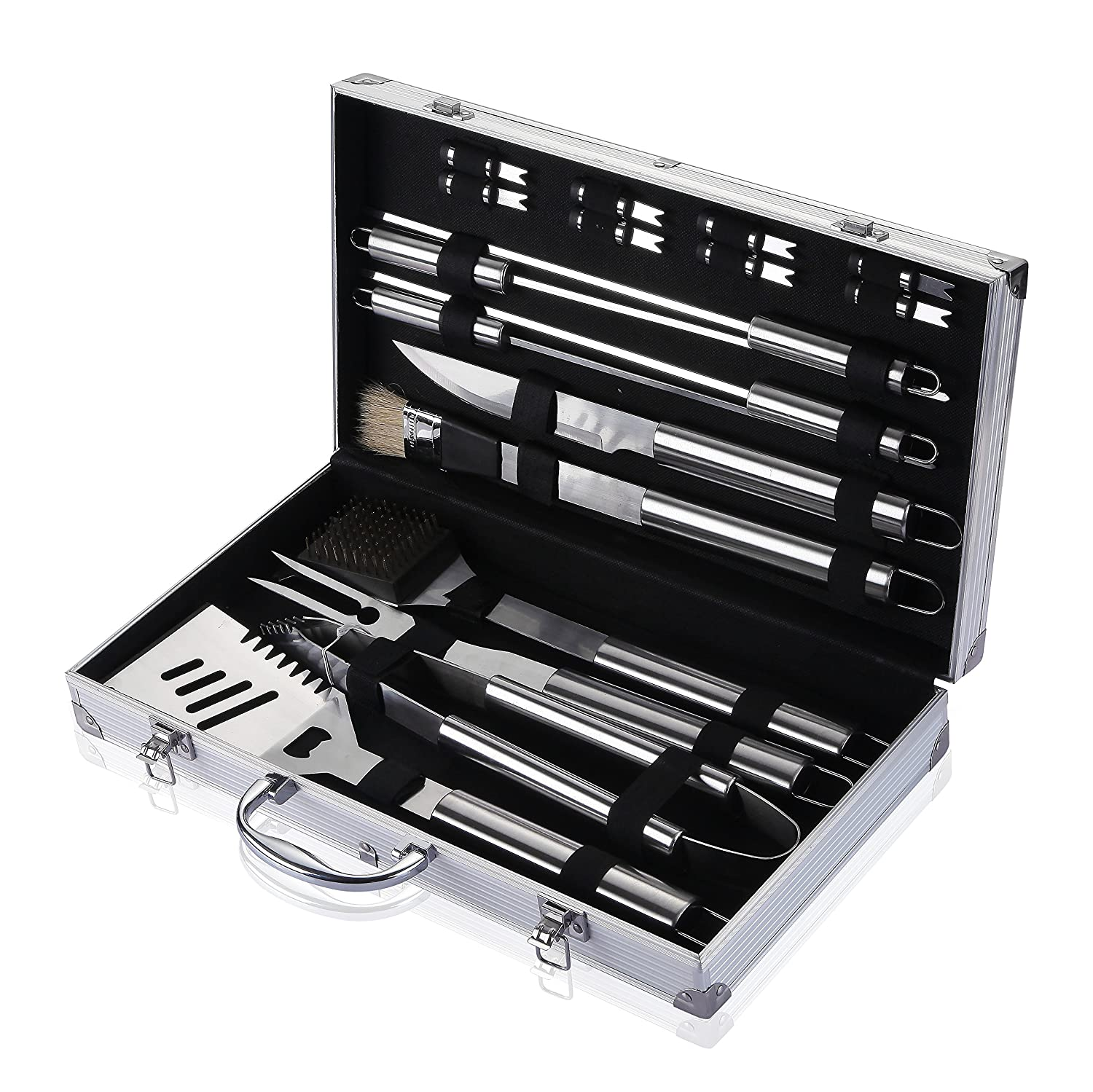 Comfy Mee Barbecue Grill Utensils BBQ Grill Tools Set-18 Piece Stainless Steel BBQ Accessories in Aluminum Storage Case