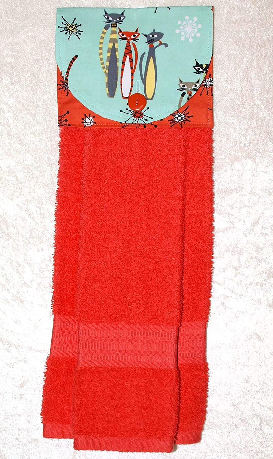 Mod Cats On Aqua with Coral Starburst Accent Fabric Plush Coral Kitchen Towel Hanging Hand Towel