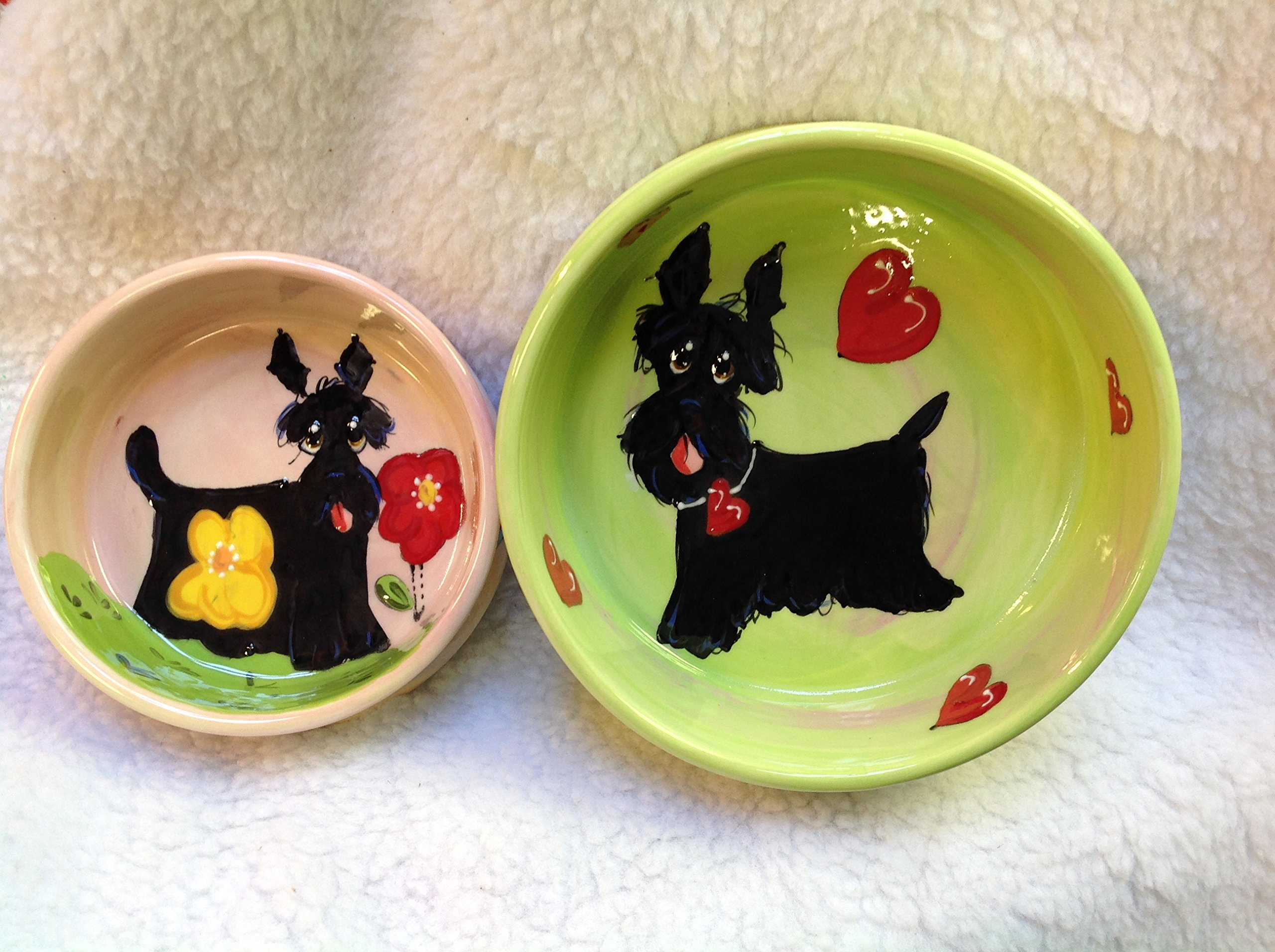 Scottish Terrier 8''/6'' Pet Bowls for Food/Water. Personalized at no Charge. Signed by Artist, Debby Carman.