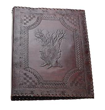 Árbol de Familia * Archivador 4 Anillas DIN A4 Cuero Genuino Hecho a Mano India: Amazon.es: Oficina y papelería