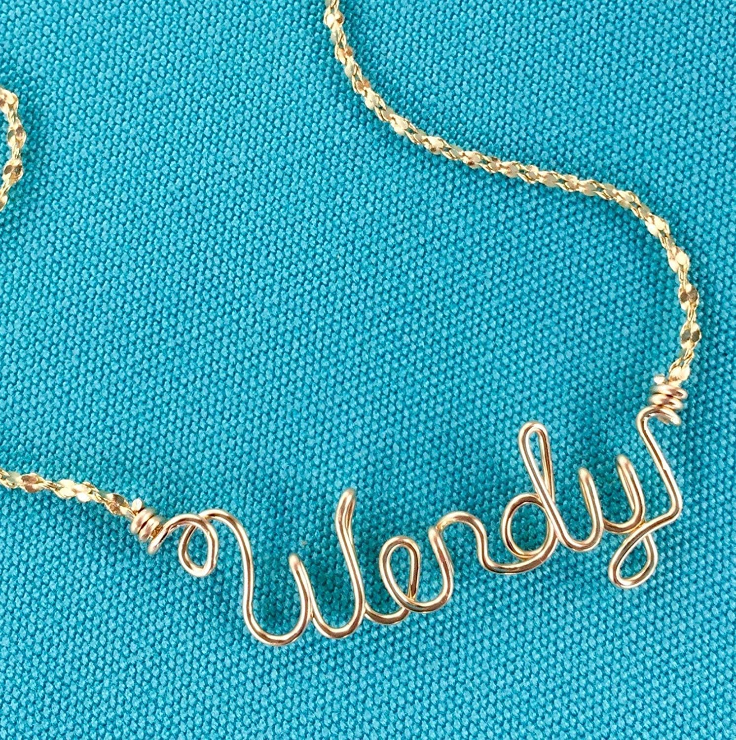 Personalized Jewelry~Gold Wire Name Necklace or Anklet~Charm w/Swarovski Birthstone~Heart, Cross, Star, Flower or Peace Sign~Any Name~Handcrafted Name Jewelry