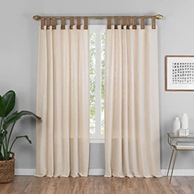 VUE Curtains for Bedroom - Torrington 52  x 84  Decorative Single Panel Tab Top Window Treatment Privacy Curtains for Living Room, Natural