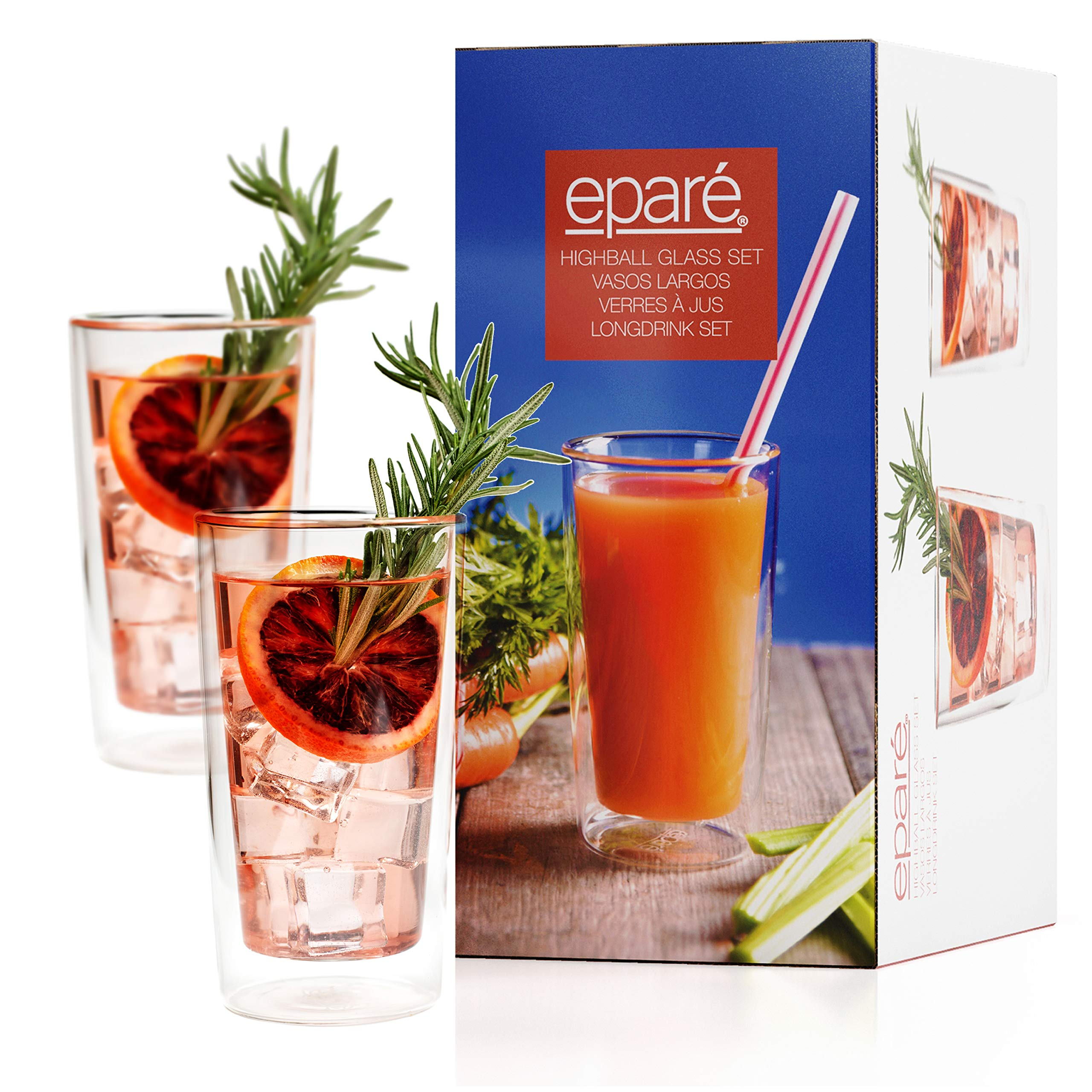 Eparé Highball Glasses - 10 oz Cocktail Glass Tumbler Set - Insulated Drinking Glassware - Iced Tea Juice Beer Drinkware by eparé