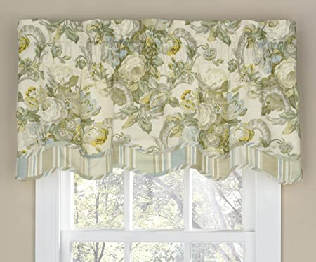 WAVERLY Valances for Windows – Spring Bling 52 x 18 Short Curtain Valance Small Window Curtains Bathroom, Living Room and Kitchens, Platinum