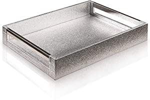Decorative Glossy FAUX PU Artificial Leather Butler Serving Tray with Handles Breakfast in Bed Coffee Table Tray Large Ottoman Tray Great for Dinners Party Trays for Serving Food Modern Vanity Tray
