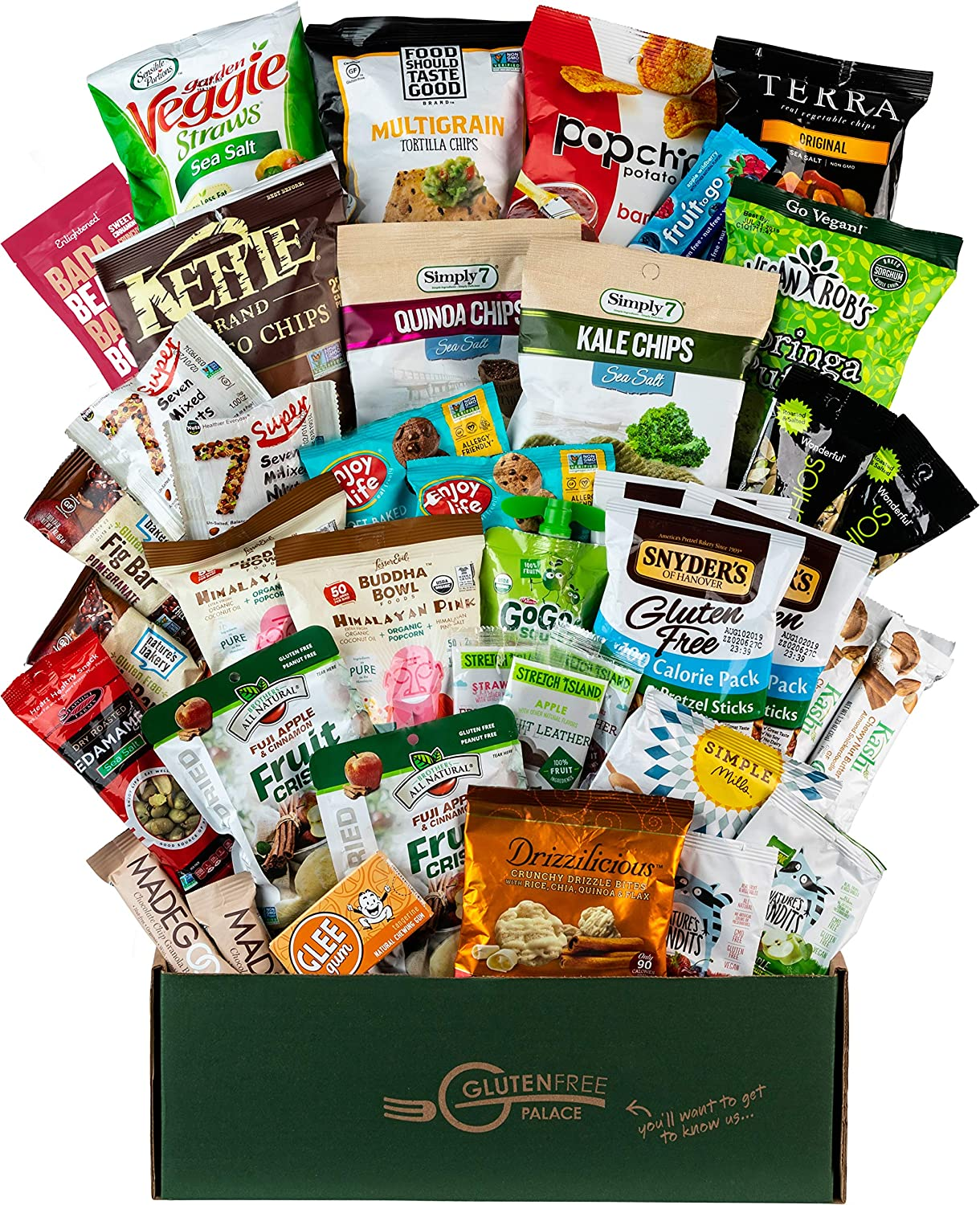 Deluxe Snacks Care Package - GLUTEN-FREE, DAIRY-FREE, Kosher Cookies, Bars, Chips, Puffs, Fruit & Nuts. [40 Count] Holiday Gift Baskets | Healthy Snack Box | College Care Package by SNACK ATTACK