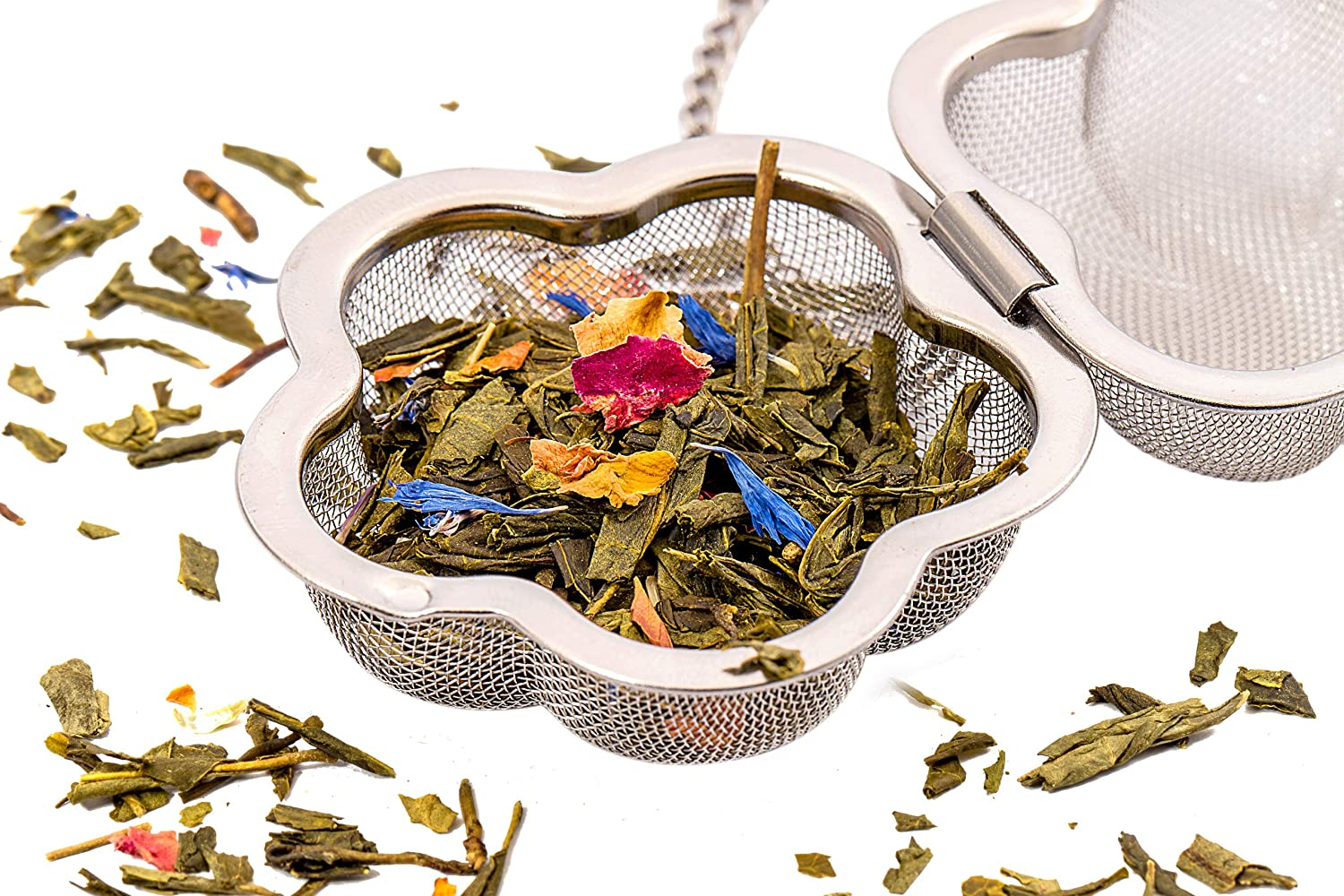 Unique Flower Shape Perfect for all Occasions Cute Tea Gift Set Reusable Tea Infuser Ball for Loose Leaf Tea Fine Mesh Stainless Steel Single Serve Strainer and Steeper with Charming Drip Tray