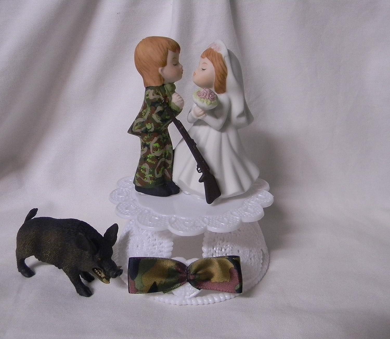 Wedding Party Reception ~Wild Boar Hog~ Redneck Camo Hunter Cake Topper