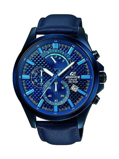 734ffc3be9ec Casio Reloj Cronógrafo para Hombre de Cuarzo con Correa en Cuero EFV-530BL-2AVUEF   Amazon.es  Relojes