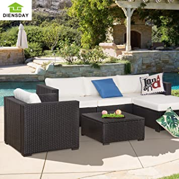 Diensday 6 Piece All Weather Cushioned Outdoor Patio PE Rattan Wicker Sofa  Sectional Furniture Set