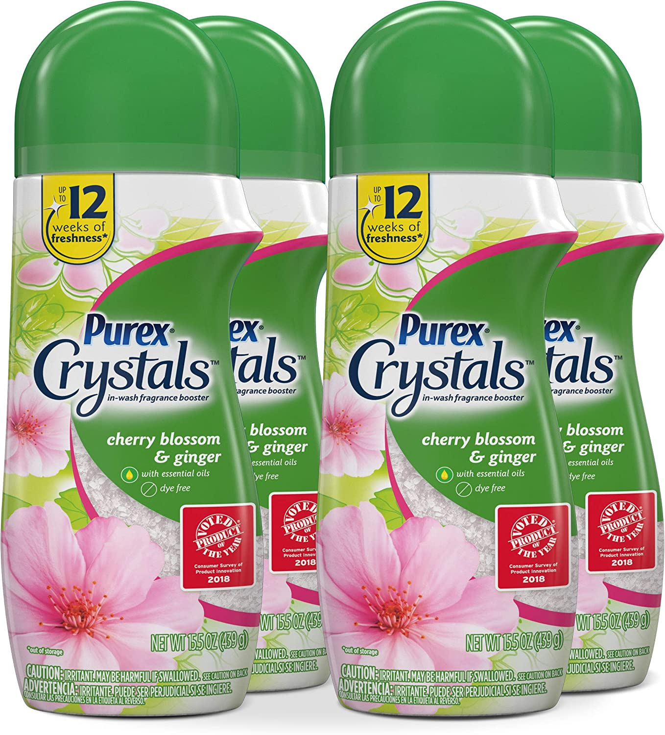 Purex Crystals in-Wash Fragrance and Scent Booster, Cherry Blossom & Ginger, 15.5 Ounce, 4 Count
