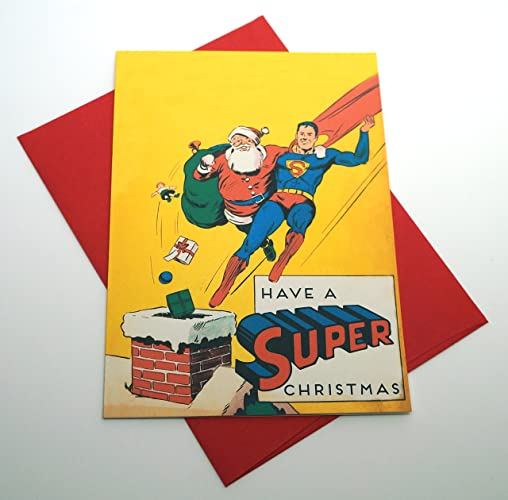 Amazon have a super christmas superman with santa christmas have a super christmas superman with santa christmas greeting card free shipping m4hsunfo