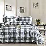 Bedding 3 Piece Duvet Cover Set 1 Duvet Cover+2 Pillowcases Ultra Soft Brushed Microfiber Farmhouse Grey White Buffalo…