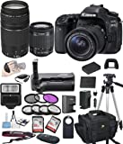 Canon EOS 80D Digital SLR Camera w/ EF-S 18-55mm + 75-300mm Telephoto Zoom Lens Bundle includes Camera, Lenses, Filters, Bag, Memory Cards , Power Grip, Tripod ,and More - International Version
