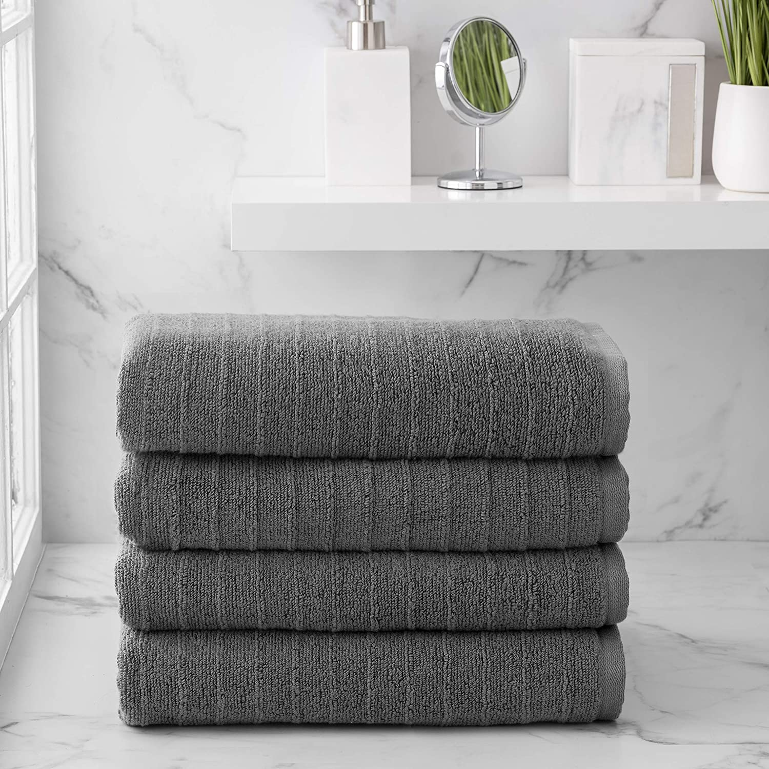Welhome James 100% Cotton 4 Piece Bath Towels | Charcoal Grey | Stripe Textured | Supersoft & Durable | Highly Absorbent & Quick Dry | Ideal for Everyday Use | 450 GSM | Machine Washable