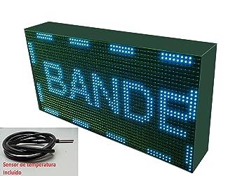 Cartel LED programable con sensor de temperatura y reloj (64x32, Azul) / Letrero