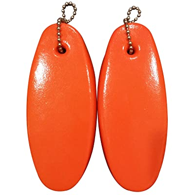 2 Pack Jumbo Vinyl Coated Orange Floating Keychain Key Floats -Made in The USA- (Orange): Automotive