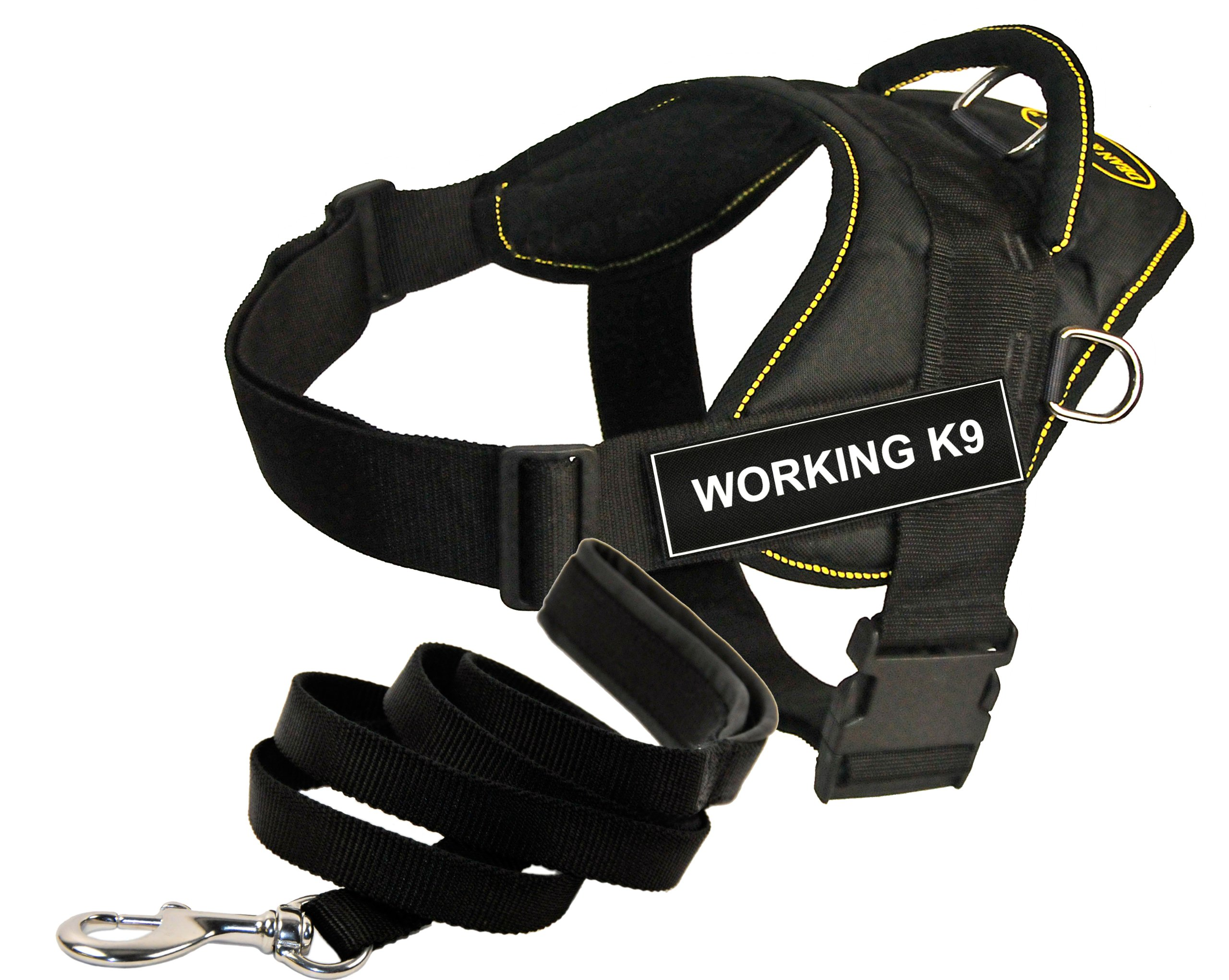Dean and Tyler Bundle - One DT Fun Works Harness, Working K9, Yellow Trim, Medium (28'' - 34'') + One Padded Puppy Leash, 6 FT Stainless Snap - Black
