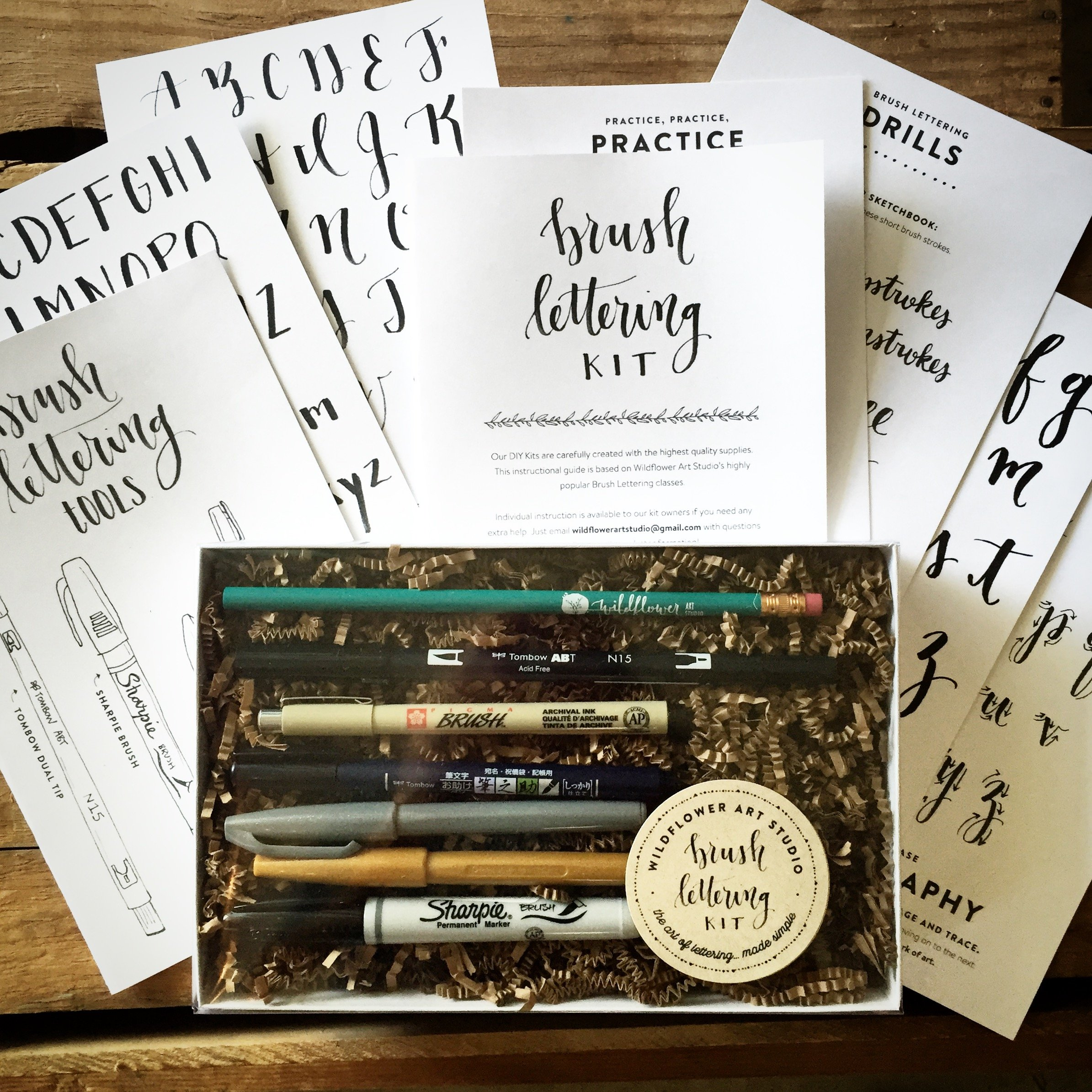 Brush Lettering Kit - DIY Brush Calligraphy Starter Set by Wildflower Art Studio by Wildflower Art Studio