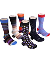 Marino Mens Dress Socks - Fun Colorful Socks for Men - Cotton Funky Socks - 6