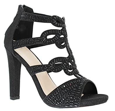 78a62624666d MVE Shoes Womens Strappy Open Toe Chunky Heel-Comfy Stacked Heeled  Sandal-Sexy Party Dress Sandal