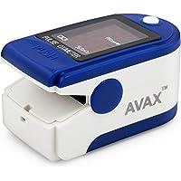 AVAX 50DL - Doigt oxymètre de pouls -% SpO2 (Saturation en oxygène dans Le Sang) et Moniteur de fréquence Cardiaque avec Cordon et étui de Transport (dans Son Emballage) - Bleu