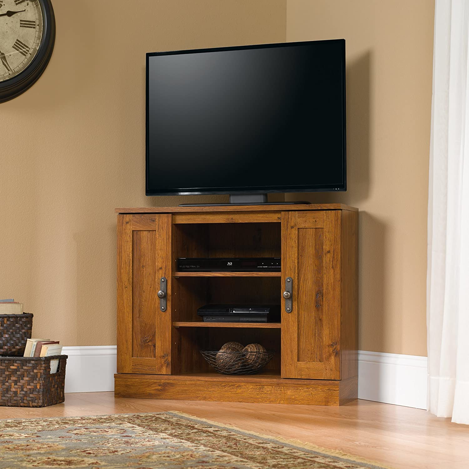 Sauder 404962 Harvest Mill Corner Entertainment Stand, For TV s up to 37 , Abbey Oak finish