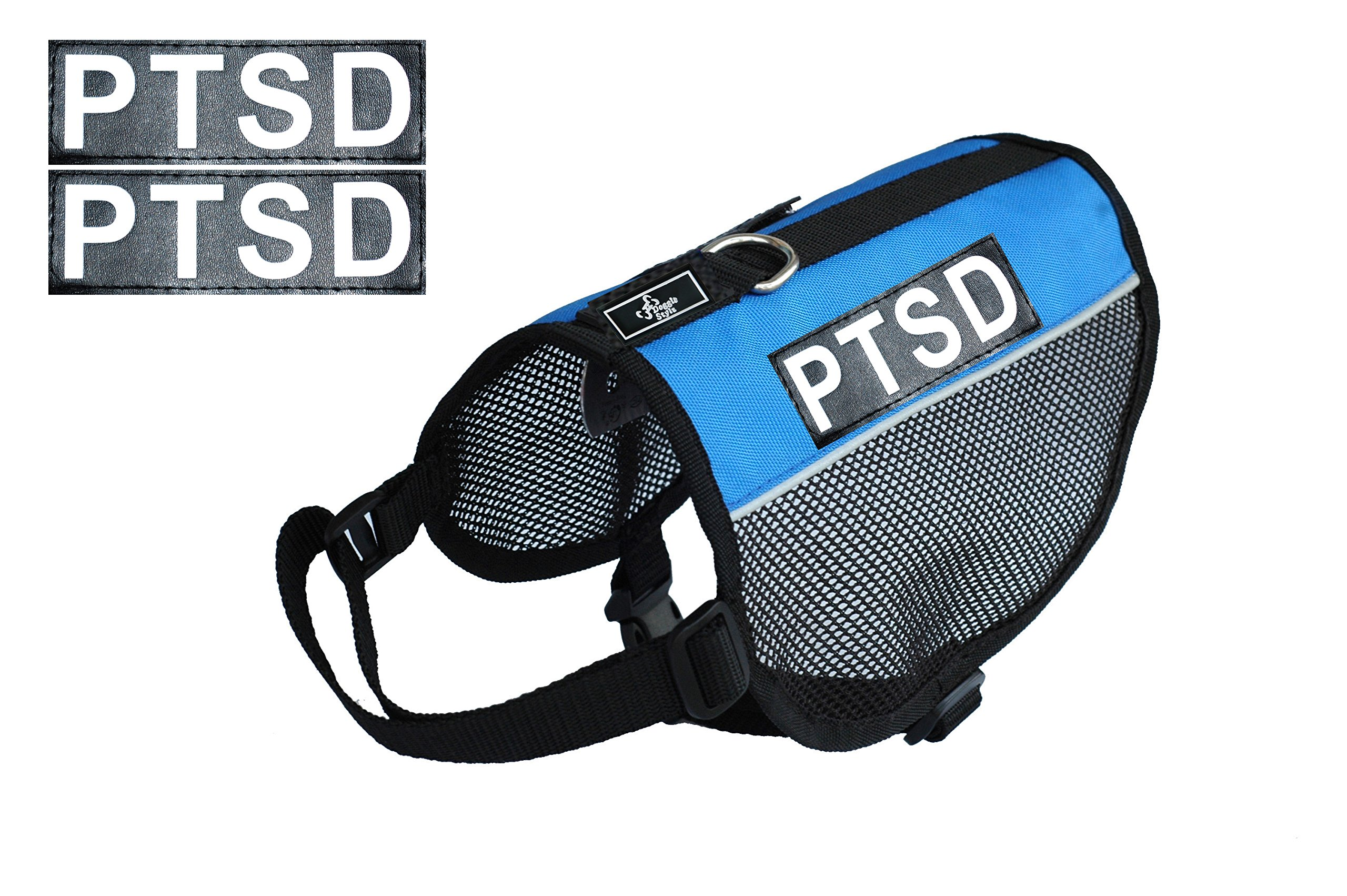 PTSD Service Dog mesh Vest Harness Cool Comfort Nylon for Dogs Small Medium Large Purchase Comes with 2 Reflective PTSD pathces. Please Measure Your Dog Before Ordering