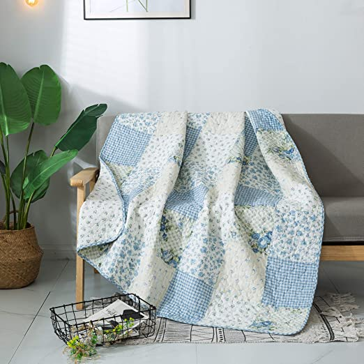 Home Chic Multicolor Decorative Lap Throw Quilt for Bed Couch Sofa 50 x 60 SLPR Sweet Dreams Cotton Real Patchwork Quilted Throw