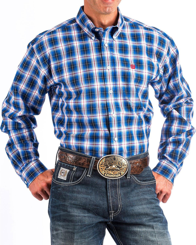 Cinch Men's Blue Plaid Long Sleeve Button Down Shirt Blue Large